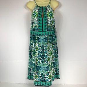 London Times Keyhole Halter Neck Jersey Dress NEW